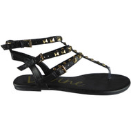 """TONKS"" Black Studded Strappy Gladiator Sandals"