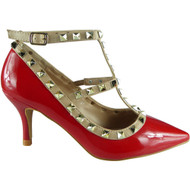 """ABIA"" Red T-Bar Ankle Strap Sandals"