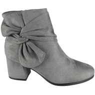 """BIRDIE"" Grey Faux Suede Zip Low Cuban Heel Ankle Bow Boots"