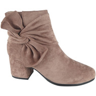 """BIRDIE"" Pink Faux Suede Zip Low Cuban Heel Ankle Bow Boots"