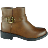 """""""IRIA"""" Camel PU Buckle Strap Low Heel Chunky Ankle Chelsea Boots"""