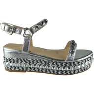 """CEDRICA"" Silver  Studded Ankle Strap  Wedge Sandals"