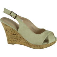 """GYPSY"" Khaki Faux Suede Ankle Strap High Wedge Heel Sandals"