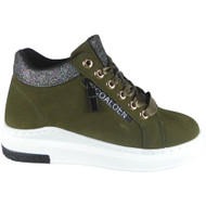 """DOORIYA"" Green Lace Up Flat Trainers"