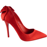 """ALODIE"" Red Satin Stiletto Heel Bridesmaid Court Shoes"