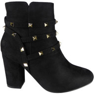"""GLEDA"" Black Faux Suede Zip Mid Heel Party Studded Ankle Boots"