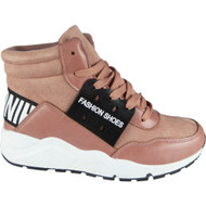 """DEMELZA"" Pink High Hi Top Lace Up Flat Pumps Trainers"