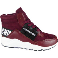 """DEMELZA"" Wine High Hi Top Lace Up Flat Pumps Trainers"