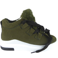 """Pakpao"" Green High Hi Top Lace Up Flat Pumps Trainers"