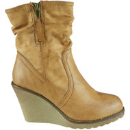 """CLEANTHA"" Camel Mid Heel Wedge Ankle Boots"