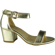 """HERTHA"" Gold Metallic Ankle Strap Sandals"