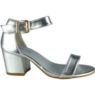 """HERTHA"" Silver Metallic Ankle Strap Sandals"
