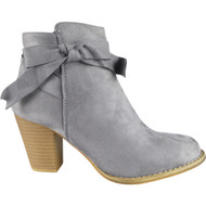 """ELMIRA"" Grey Cuban Heel Ankle Bow Boots"