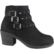 """DAMOSEL"" Black Cuban Heel Buckle Ankle Boots"