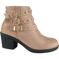 """DAMOSEL"" Pink Cuban Heel Buckle Ankle Boots"