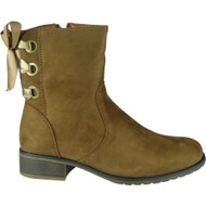 """ADIA"" Camel Zip Ribbon Cuban Heel Ankle Boots"