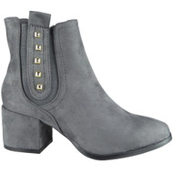 """""""AISFORD"""" Grey Cuban Heel Zip Stud Ankle Boots"""