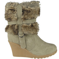"""ISOBEL"" Grey Zip Fur Lining Wedge Heel Ankle Boots"