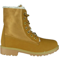 """""""ALDYS"""" Camel Lace Up Fur Lining Cuban Heel Ankle Boots"""