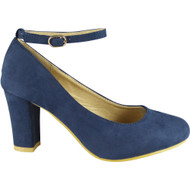 """CORLISS"" Navy Ankle Strap Block Heel Court Shoes"