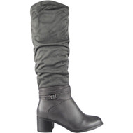 """JOYCE"" Grey Buckle Strap Cuban Heel Knee High Boots"