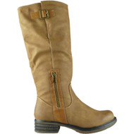 """JOLENE"" Tan Buckle Cuban Heel Knee High Boots"