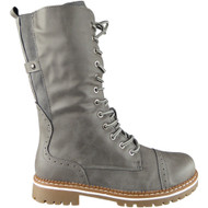 Opeline Grey Lace Up Mid Calf Boots