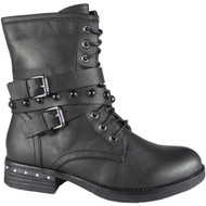 Zephrine Black Buckle Strap Ankle Boots