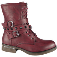 Zephrine Wine Buckle Strap Ankle Boots