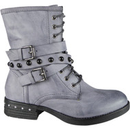 Zephrine Blue Buckle Strap Ankle Boots