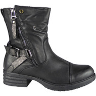 Wilow Black Zip Buckle Ankle Boots