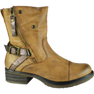 Wilow Camel Zip Buckle Ankle Boots
