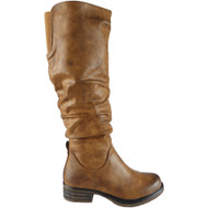 """UNITY"" Camel Rouched Zip Cuban Heel Knee High Boots"