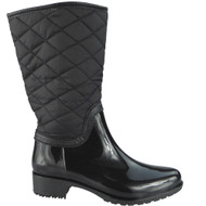 """SHIRLEY"" Black Zip  Cuban Heel Wellington Boots"