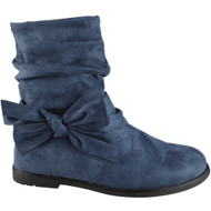"""RUE"" Blue Zip Faux Suede Ankle Boots"