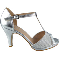 """OSMA"" Silver Bridesmaid Kitten Heel Sandals"
