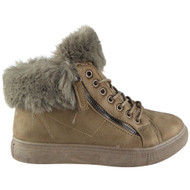"""PAMELA"" Khaki Fur Lining Zip Lace Up Flat Trainers"
