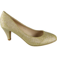 """EMILY"" Gold Glitter Mid Heels Court Shoes"