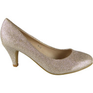 """""""EMILY"""" Champagne Glitter Mid Heels Court Shoes"""