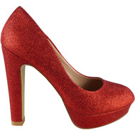 "GEORGIA"" Red Glitter High Heel Court Shoes"