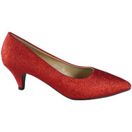 """MARIE"" Red Glitter Mid Heel Court Shoes"