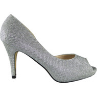 """IMOGENE"" Silver Stiletto Heel Glitter Peeptoe Shoes"