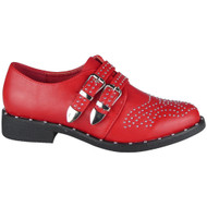 """AGATHA"" Red Studded Buckle Low Heel Slip on Boots"