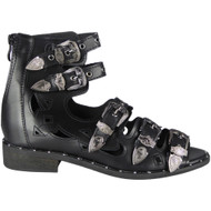 """ROSIE"" Black Buckle Gladiator Strappy Cutout Studded Flat Sandals"