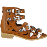 """ROSIE"" Camel Buckle Gladiator Strappy Cutout Studded Flat Sandals"