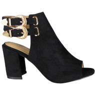 """NOREEN"" Black Peeptoe Faux Suede Buckle High Heel Sandals"