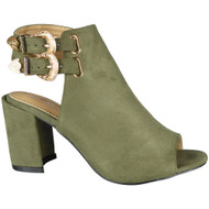 """NOREEN"" Green Peeptoe Faux Suede Buckle High Heel Sandals"