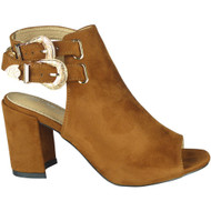 """NOREEN"" Camel Peeptoe Faux Suede Buckle High Heel Sandals"