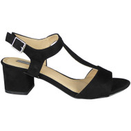 """ZULA"" Black  Mid Heel T-Bar Ankle Strap Buckle Summer Sandals"