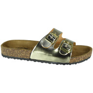 Sherlyn Gold Strappy Flats Slippers